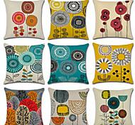 abordables -Housse de coussin en lin 9 pièces, oreiller floral géométrique pour mariage