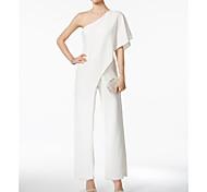abordables -Combinaisons Une Epaule Longueur Cheville Jersey Robe de Demoiselle d'Honneur  avec Volants