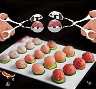 abordables -2 pcs ensemble pratique boulette de viande fabricant en acier inoxydable en peluche boulette de viande clip bricolage viande de poisson boule de riz maker