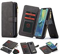 abordables -téléphone Coque Pour Huawei Coque Intégrale Étui en cuir Wallet Rotation à 360 ° Portefeuille Porte Carte Couleur Pleine TPU