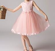 economico -Bambino Piccolo Da ragazza Vestito Tinta unita Fiore decorativo Feste Casual Bianco Rosa Azzurro stile sveglio Dolce Vestitini 3-12 anni