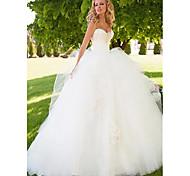 abordables -Robe de Soirée Robes de mariée Coeur Longueur Sol Tulle Sans Bretelles Joli Dos avec 2021
