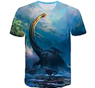 abordables -Enfants Bébé Garçon T-shirt Tee-shirts Manches Courtes Dinosaure Créatures Fantastiques Impression 3D Animal Casual Col ras du cou Enfants Le Jour des enfants Hauts Actif Chic de Rue Blanche Bleu