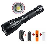 abordables -UltraFire Lampes Torches LED Imperméable Rechargeable 2200/1000 lm LED LED 1 Émetteurs 5 Mode d'Eclairage avec Pile et Chargeurs Imperméable Rechargeable Faisceau Ajustable Camping / Randonnée