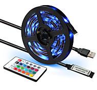 abordables -1 jeu de bande LED RVB étanche USB 5V 24 touches ruban à distance bande LED RVB TV rétro-éclairage 1m 2m 3m 4m 5m LED flexible bande lumières