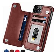 economico -telefono Custodia Per Apple Per retro Custodia in pelle iPhone 12 Pro Max 11 SE 2020 X XR XS Max 8 7 6 Porta-carte di credito Tinta unica pelle sintetica