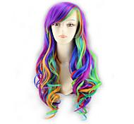 abordables -Perruque Synthétique Bouclé Coupe Asymétrique Perruque Très long Couleur ombrée Cheveux Synthétiques 39 pouce Femme Meilleure qualité Violet