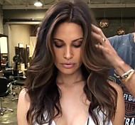 abordables -Perruque Synthétique Ondulation naturelle Coupe Asymétrique Perruque Longue Marron Cheveux Synthétiques 25 pouce Femme Meilleure qualité Au Milieu Marron