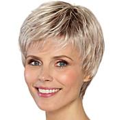 abordables -Perruque Synthétique Droit crépu Coupe Asymétrique Perruque Court Blond clair Cheveux Synthétiques 4 pouce Femme Meilleure qualité Blond