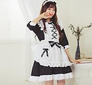 abordables -Sweet Lolita Uniformes de Femme de Ménage robe de vacances Robe Femme Japonais Costumes de Cosplay Blanche Bloc de Couleur Manches 3/4 / Tablier / Tablier