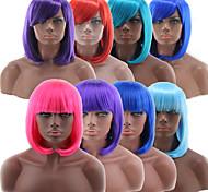 abordables -Perruque Synthétique Droit crépu Bob Coupe Carré Coupe Droite Perruque Court Rose pastèque Blond Rose Bleu Vert Cheveux Synthétiques 10 pouce Femme Bleu Rose