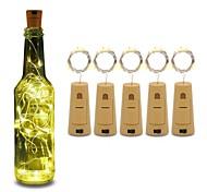 economico -5 pz led luce bottiglia di vino con sughero 6.6ft 20 led stringa luci bottiglia batteria sughero per la festa matrimonio natale halloween bar decor bianco caldo