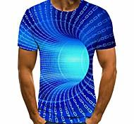 abordables -Homme T-shirt Graphique 3D Grandes Tailles Manches Courtes Quotidien Hauts basique Bleu Violet Jaune