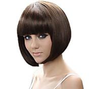 abordables -Perruque Synthétique Droit Bob Coupe Carré Coupe Droite Perruque Court Marron Cheveux Synthétiques 13 pouce Femme Meilleure qualité Marron