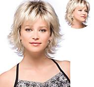 abordables -Perruque Synthétique Bouclé Coupe Asymétrique Perruque Court Blond clair Cheveux Synthétiques 10 pouce Femme Meilleure qualité Duveteux Blond