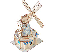 abordables -Puzzles 3D Maquettes de Bois Moulin à vent Bâtiment Célèbre Maison A Faire Soi-Même En bois 1 pcs Enfant Adulte Unisexe Garçon Fille Jouet Cadeau