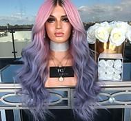 abordables -perruque synthétique vague de corps perruque asymétrique longue rose / violet cheveux synthétiques 27 pouces dégradé de couleur pour femmes violet (non-dentelle)