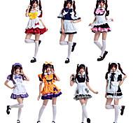 abordables -Sweet Lolita Uniformes de Femme de Ménage robe de vacances Robe Femme Japonais Costumes de Cosplay Blanche / Noir / Violet Bloc de Couleur Nœud papillon Manches Courtes Mi-long / Tablier / Tablier