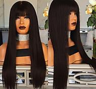 abordables -Perruque Synthétique Droit Coupe Droite Perruque Longue Noir Cheveux Synthétiques 27 pouce Femme Meilleure qualité Noir