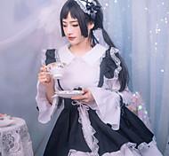 abordables -Douce Lolita Uniformes de Femme de Ménage robe de vacances Robe Femme Japonais Costumes de Cosplay Noir Bloc de Couleur Nœud papillon Manches Longues / Tablier