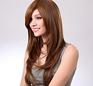 abordables -Perruque Synthétique Bouclé Coupe Asymétrique Perruque Longue Marron Cheveux Synthétiques 27 pouce Femme Meilleure qualité Marron