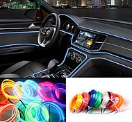 abordables -5 m / lot flexible éclairage intérieur de voiture led bande guirlande câble métallique tube ligne néon avec contrôleur de lecteur de cigarettes 8 couleurs 12 v