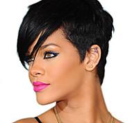 abordables -Perruque Synthétique Droit crépu Coupe Asymétrique Perruque Court Noir Cheveux Synthétiques 9 pouce Femme Meilleure qualité Noir