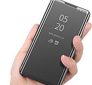 abordables -teléfono Funda Para Samsung galaxia Funda de Cuerpo Entero Funda Completa S20 Plus S20 Ultra S20 S9 S9 Plus A91 / M80S S10 S10 + Galaxy S10 E A10 con Soporte Espejo Dar la vuelta Un Color Cuero de PU