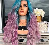 abordables -perruque synthétique vague de corps perruque asymétrique longue violet / bleu cheveux synthétiques 27 pouces dégradé de couleur pour femmes violet (sans dentelle)