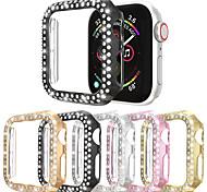 abordables -Double rangées boîtier de montre en diamant pour boîtier de montre Apple 38mm 42mm 40mm 44mm bande PC couvercle de protection d'écran pour iwatch série 5 4 3 2