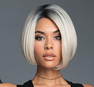 abordables -Perruque Synthétique Droit crépu Bob Coupe Carré Perruque Court Noir blanc Cheveux Synthétiques 11 pouce Femme Dégradé de Couleur Blanc Racine sombre