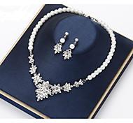 abordables -Femme Cristal Nuptiales Parures Transparente Fleur Elégant Rétro Vintage Des boucles d'oreilles Bijoux Blanche Pour Soirée Mariage 1 jeu