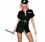economico -Poliziotto / Poliziotta Per adulto Per donna Vestiti Costumi Cosplay Completi Per Poliestere Mascherata Abito Cintura Cappelli