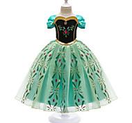 abordables -Enfants Petit Fille Robe Graphique Géométrique Fleur Robe en Tulle Fête d'anniversaire Costumes de cosplay Pegeant Broderie Imprimé Vert Princesse Elégant Doux Robes Pâques
