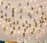 abordables -2m 20led guirlandes avec 12 clips photo guirlandes lumineuses en plein air batterie guirlande décoration de noël fête mariage noël