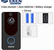 economico -Campanello video smart wifi eken v7 hd 1080p con batteria 2 * 18650 1 * carillon 1 * 18650 caricabatterie