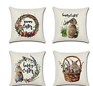 abordables -joyeuses pâques lot de 4 taie d'oreiller en lin dessin animé de vacances lapin heureux traditionnel coussin de pâques 45 * 45 cm