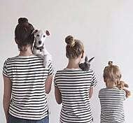 abordables -Maman et moi Lots de Vêtements pour Famille Tee-shirts Rayé Blanche