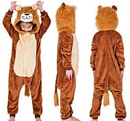 abordables -Enfant Camouflage Pyjamas Kigurumi Tenues de nuit Lion Combinaison de Pyjamas Flanelle Café Cosplay Pour Garçons et filles Pyjamas Animale Dessin animé Fête / Célébration Les costumes