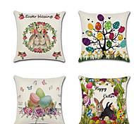abordables -joyeuses pâques lot de 4 taie d'oreiller en lin vacances dessin animé lapins de pâques oeufs fleurs coussin 45 * 45 cm