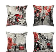 economico -set di 4 copricuscini in lino per amanti del matrimonio romantico cuscino di San Valentino