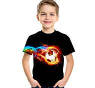 abordables -Enfants Garçon T-shirt Tee-shirts Manches Courtes Football Compétition Enfants Hauts Actif Chic de Rue Bleu marine Blanche Noir