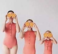 abordables -Maman et moi Lots de Vêtements pour Famille Le maillot de corps Couleur Pleine Orange