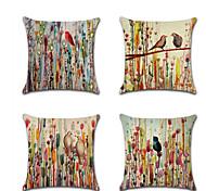 economico -Fodera per cuscino in lino 4 pezzi, animal chic& moderno rustico quadrato tradizionale classico