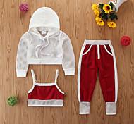 economico -Bambino (1-4 anni) Da ragazza Completo Tinta unita Manica lunga Casuale Bianco Essenziale Standard Standard