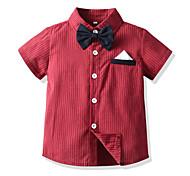 economico -Bambino Bambino (1-4 anni) Da ragazzo maglietta Camicia Manica corta A strisce Rosso Cotone Bambini Top Estate Essenziale Giornata universale dell'infanzia