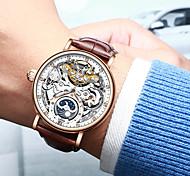 economico -KINYUED Per uomo orologio meccanico Analogico Carica automatica Alla moda Casuale Resistente all'acqua Nottilucente Fase lunare / Vera pelle