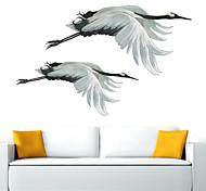 abordables -Autocollant mural de grue volante autocollants muraux animaux salon décor à la maison autocollant mural en pvc 70 * 40 cm