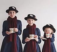 abordables -Maman et moi Lots de Vêtements pour Famille Robe Couleur Pleine Bleu Marine