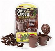 abordables -3 capsules de café intelligentes marron réutilisables filtre à café thé en acier inoxydable entonnoir cuillère